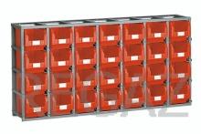 Regálový rám včetně 28 zásobníků velikosti 3