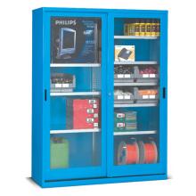 Skříň s polykarbonátovými posuvnými dveřmi, včetně zásobníků