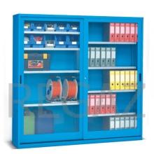 Skříň s posuvnými polykarbonátovými dveřmi s kontejnery