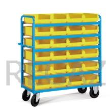 Vozík včetně žlutých stohovacích zásobníků - police dřevěné