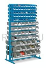 Stacionární regálový stojan včetně plastových zásobníků