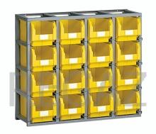 Regálový rám včetně 16 zásobníků velikosti 3