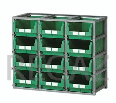 Regálový rám včetně 12 zásobníků velikosti 4