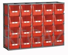 Regálový rám včetně 20 zásobníků velikosti 4A5