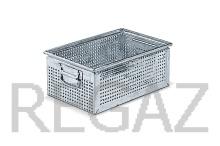 Kovový stohovací box perforovaný