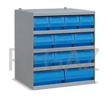Kovová skříňka s plastovými boxy série Multibox