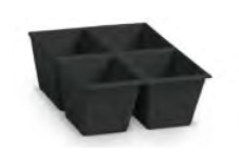 Dělící box pro stohovací zásobníky, se 4 buňkami - recyklát